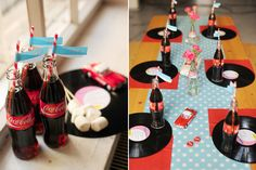 Polka-dot runner, vintage vinyl records as chargers and glass Coca-Cola bottles.