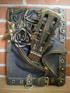 steampunk victorian guitar, steampunk flying v guitar, victorian steampunk guitar, the last steampunk waltz guitar tab, steampunk wood guitar Mixed Media Journal, Mixed Media Collage, Mixed Media Canvas, Altered Canvas, Altered Art, Mix Media, Steampunk Crafts, Steampunk Guitar, Mixed Media Scrapbooking