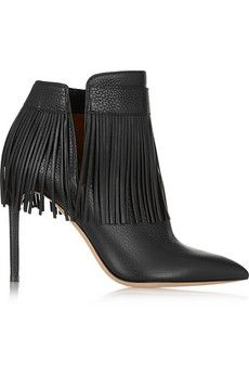 Shoe Addiction // Valentino Fringed textured-leather black ankle boots