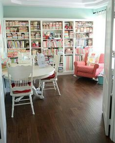 we are planning on making a library wall in the family room where my sewing area will be located. I think built in's will be a nice addition to the room.