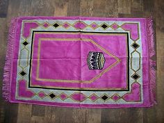 Prayer Rug Made in Turkey New Pink Black and Gold