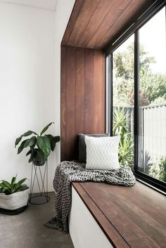 Awesome This modern bedroom has a wood framed window seat that overlooks the garden. The post This modern bedroom has a wood framed window seat that overlooks the garden…. Home Decor Bedroom, Interior Design Living Room, Design Bedroom, Bedroom Decor, Wood Bedroom, Bedroom Plants, Bedroom Storage, Interior Livingroom, Bedroom Interior Colour