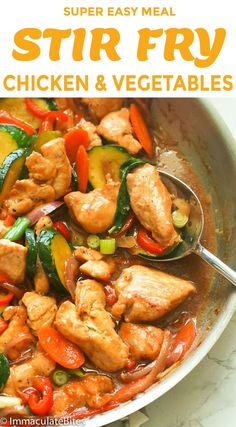 healthy stir fry Stir Fry Chicken and Vegetables a super easy chicken meal that takes only less than 30 minutes to cook and seconds to devour; coated in a a savory and lightly smoky s Chicken Vegetable Stir Fry, Easy Chicken Stir Fry, Veggie Stir Fry, Easy Chicken Recipes, Vegetable Recipes, Asian Recipes, Easy Stir Fry Sauce, Chicken Stirfry Recipes, Chicken Recipes