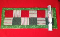 Christmas patchwork runner by QuiltAroundTheClock on Etsy, $20.00