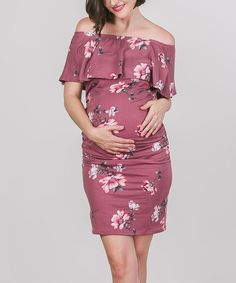 Mauve Floral Ruffle Maternity Off-Shoulder Dress #affiliatelink
