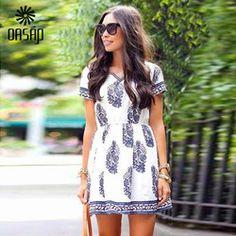 Online Shop OASAP 2015 Summer Demure Vintage Floral Mini Dress V-Neck Women White Dress Skater DressVestido De Festa Women Clothing-45753|Aliexpress Mobile