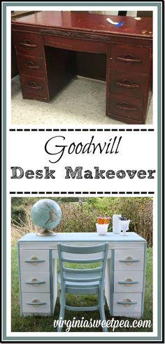 A Harmony House mid-century desk discovered at Goodwill in rough shape gets a makeover to make it pretty once again.   virginiasweetpea.com  #decoartprojects