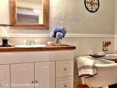 vintage home love: Master Bath Redo Featuring Reclaimed Barn Wood countertop
