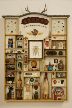 Love this display of nicknacks and collections.