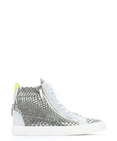 GIUSEPPE ZANOTTI Silver Metallic Croc-Embossed Leather 'London' High-Top Sneakers. #giuseppezanotti #shoes #shoes