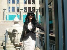 Jennifer Kaya Canadian fashion blogger www.jenniferkaya.com #fashion #cute outfit #jacket #skirt #ootd #outfit #style #business outfit #classic #elegant #dress #beige dress #jacket #heels #high heels #jewellery #necklace