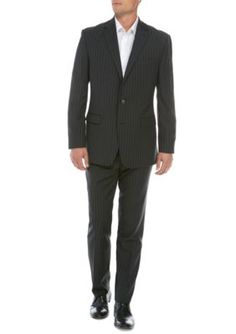 Austin Reed Men's Gray Stripe Suit - Grey - 44 Regular