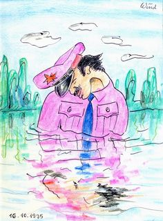 Badender in Uniform (Bathing man in Uniform), 1995 by J.G.Wind - A modern interpretation of the Narcissus Story