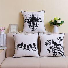 Черный и белый птица дерево цветочный леопарда подушки современный стиль белье подушки Cojines декоративные подушки броска для сиденья постельное белье