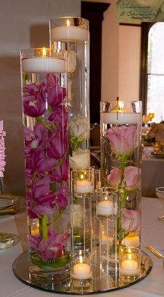Submersible Pink Star Flower Floral Wedding Centerpiece with Floating Candles and Acrylic Crystals Kit