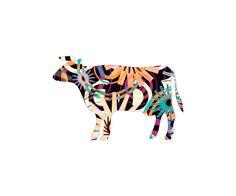 Neu in meiner Galerie bei OhMyPrints: COW-P3-D #kunst #art #kunstdrucke #ohmyprints #kuh #muster #grafikdesign #vektrografik