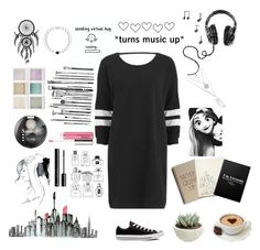 """""""T-Shirt dresses are v cute"""" by fangirl9 ❤ liked on Polyvore featuring Disney, Nümph, GE, Bourjois, Holga, Converse, Clinique, H&M and Everest"""