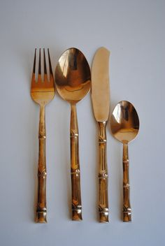 Vintage Brass Bamboo Flatware, s/24