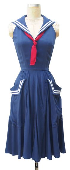 Vintage Fashion Sailor Dress - bought this week in New Orleans from one of my favorite French quarter shops - 1940s Fashion, Trendy Fashion, Vintage Fashion, Diva Fashion, Vintage Style, Style Fashion, Vintage Ideas, Edwardian Fashion, Fashion Bloggers
