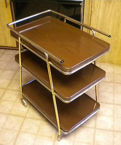 Vintage Cosco Mid-century Modern Three Tier Bar Cart / Serving Cart / Utility