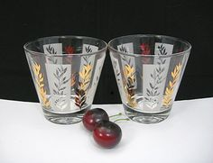 2 MCM Rocks Glasses 8 oz. Capacity Gold White by AtticDustAntiques ***ALSO SEE Vintage Jewelry at: http://MyClassicJewelry.com/shop