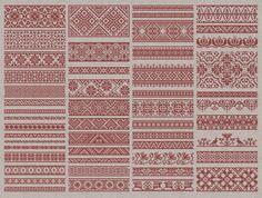 Decoratieve randen - 50 origineel kruissteek Designs - Instant Download PDF borduurwerk patroon