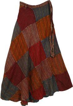 Crimson Wrap Around Patchwork Skirt