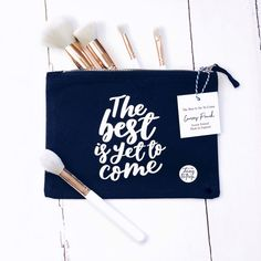 The Best Is Yet To Come Canvas Pouch Pencil Case Make-Up | Etsy Pop Clothing, Hand Lettering Styles, Stationery Store, The Best Is Yet To Come, Blue Canvas, You Bag, Beanie Hats, Screen Printing, Great Gifts