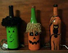 Halloween Wine bottle lights / luminaries