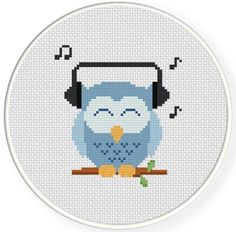 (10) Name: 'Embroidery : Music Lover Owl Cross Stitch Pattern