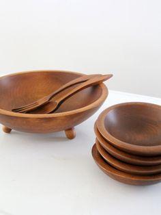 modern wood bowl set
