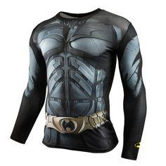 Mens Roupas de Marca camisa de Fitness T 3D Superman/Capitão América T-Shirt de Manga Comprida Calças Justas Homens Crossfit Topos De Compressão Vermelho espião
