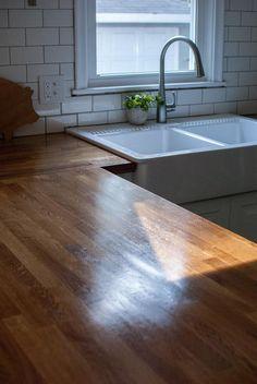 tutorial for waterloxing ikea butcher block countertops