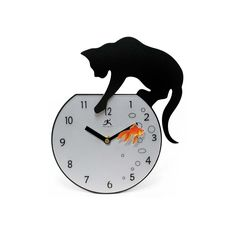 Fishing Cat clock.  I love this clock because it's easy to see the time when looking at it from a distance thanks to the cheery little goldfish!  A word of warning however - the fish is paper and EXTREMELY fragile!!!