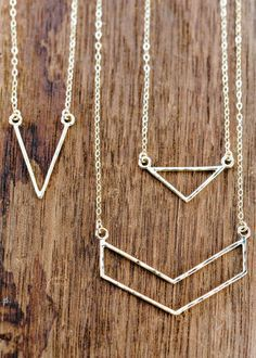 Leonani necklace - gold triangle necklace, gold chevron necklace, gold layering…