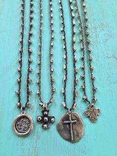 Knotted Cross Crochet Necklace, Rustic Silver Beaded Jewelry by Two Silver Sisters twosilversisters