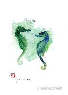 Originele zeepaard aquarellen blauw turquoise door joannaszmerdt, $30.00