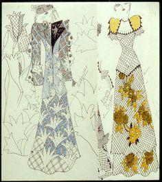Ossie Clark dresses with Celia Birtwell prints. Biba Fashion, Sixties Fashion, Couture Fashion, Retro Fashion, Vintage Fashion, Kimono Fashion, Textiles, Textile Patterns, Textile Design