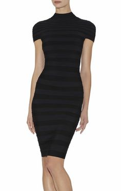 Aisha Mock-Neck Colorblocked Dress   Herve Leger