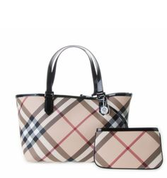 Burberry's classic Small Nova Check Tote from Eranzi features the iconic check with contrast black patent leather trims and additional detachable pouch.