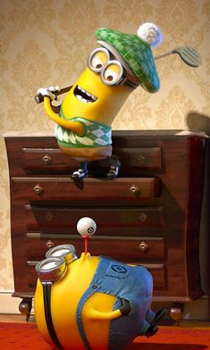 kevin and dave playing golf on the landing Despicable Me 2, Minions, Suitcase, The Minions, Suitcases, Minions Love, Minion Stuff
