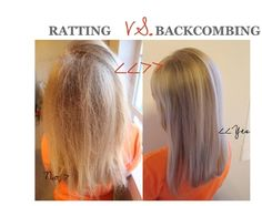 correct way to backcomb. It's amazing how many girls don't know how to do this! If it looks like an animal is caught in your hair, you did it WRONG!!! - hair-sublime.com