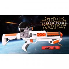 """The Nerf Star Wars The Force Awakens First Order Stormtrooper Deluxe Blaster uses slam-fire action to shoot foam darts up to 65 feet. It comes with 12 foam darts and a removable stock and scope. The darts are not your typical Nerf darts. These darts are bright red with a Star Wars logo on one side. (Here at TTPM, we're calling them """"Imperial"""" darts.)"""