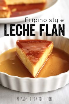 Leche Flan (Dairy-free Filipino dessert) – Ai made it for you Leche flan is easily my favorite Filipino dessert! The custard is so creamy, rich, and absolutely delicious! This dairy-free version uses condensed coconut milk and evaporated coconut milk! Philipinische Desserts, Filipino Desserts, Asian Desserts, Filipino Recipes, Best Dessert Recipes, Delicious Desserts, Yummy Food, Filipino Food, Cuban Recipes