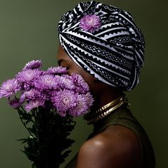 Black and white African print head wrap. African Head Wraps, Headdress, Turban, African Fashion, Captain Hat, Style Inspiration, Purple, Hats, Instagram Posts
