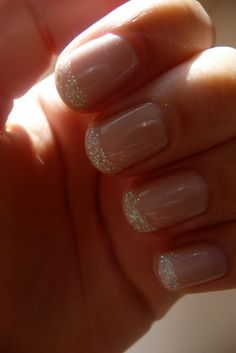 nude w/ glitter tipped nails...my Granddaughter did this for Prom and was an amazing look