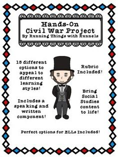 Have your students show what they know about The Civil War by picking one of 15 different project options!!
