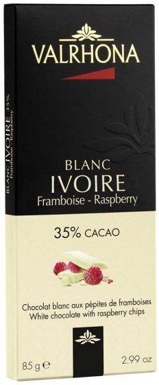 Valrhona Blanc Ivoire Framboise - Raspberry... Λευκή σοκολάτα 35% κακάο με τραγανά κομματάκια φραμπουάζ! Απαλή γλυκιά γεύση λευκής σοκολάτας συνδιάζεται αρμονικά με τα γλυκόξινα φραμπουάζ! Μία μίξη η οποία δίνει μια διαφορετική αλλά τόσο νόστιμη γεύση λευκής σοκολάτας!