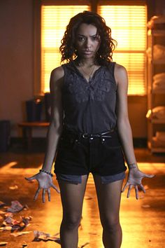"""The Vampire Diaries Photos from """"Age of Innocence"""": Bonnie on Fire - The Vampire Diaries Season 7 Episode 3 Vampire Diaries Outfits, Vampire Diaries Enzo, Vampire Diaries Season 7, Serie The Vampire Diaries, Vampire Diaries The Originals, The Vampire Diaries Characters, Katerina Graham, Bonnie Bennett, Daniel Gillies"""