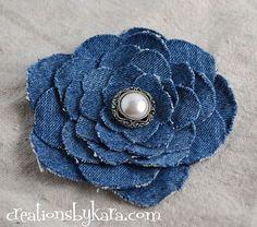 Denim Do Over | Denim Flower Made from Recycled Jeans | http://www.denimdoover.com